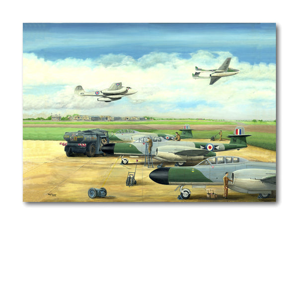 Greetings Card - Refuelling Meteor NF 11's at RAF Coltishall (1953) from Dormouse Cards.