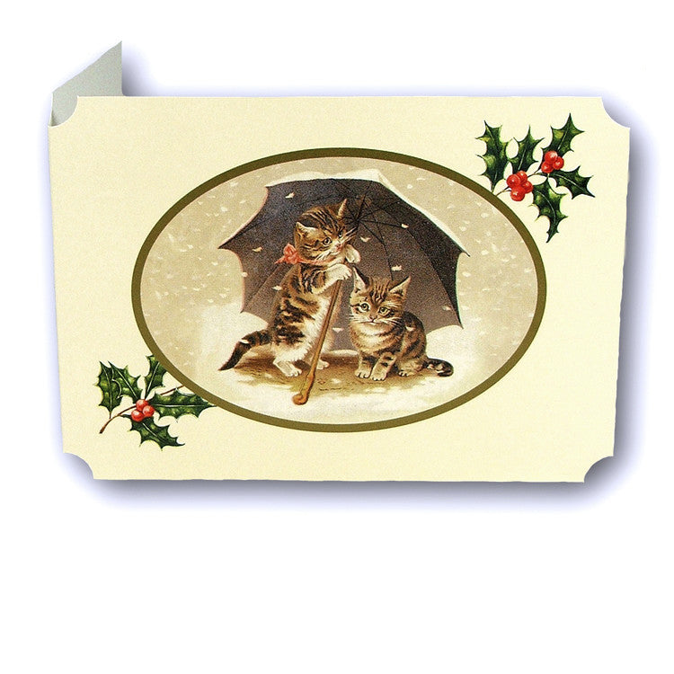 Courtier Victorian Style Catland Christmas Cards, Cats under an Umbrella, sold by Dormouse Cards