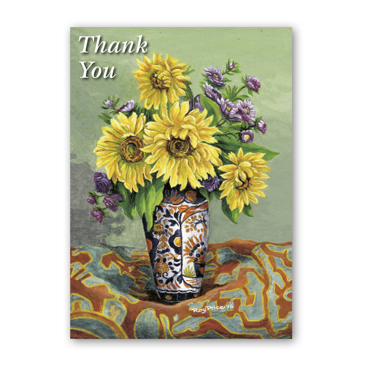 Fine Art Sunflower Thank You Card from Dormouse Cards