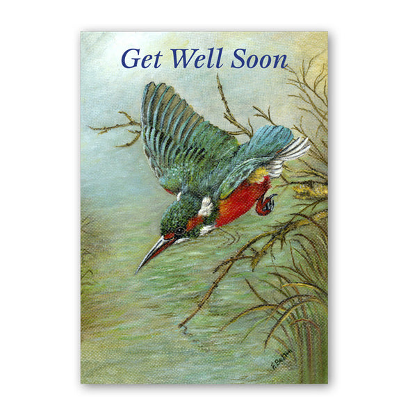 Fine Art Kingfisher Get Well Soon Art Card from Dormouse Cards