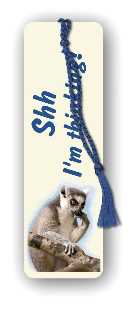 Funny Lemur Bookmark - Shh I'm thinking! from Dormouse Cards