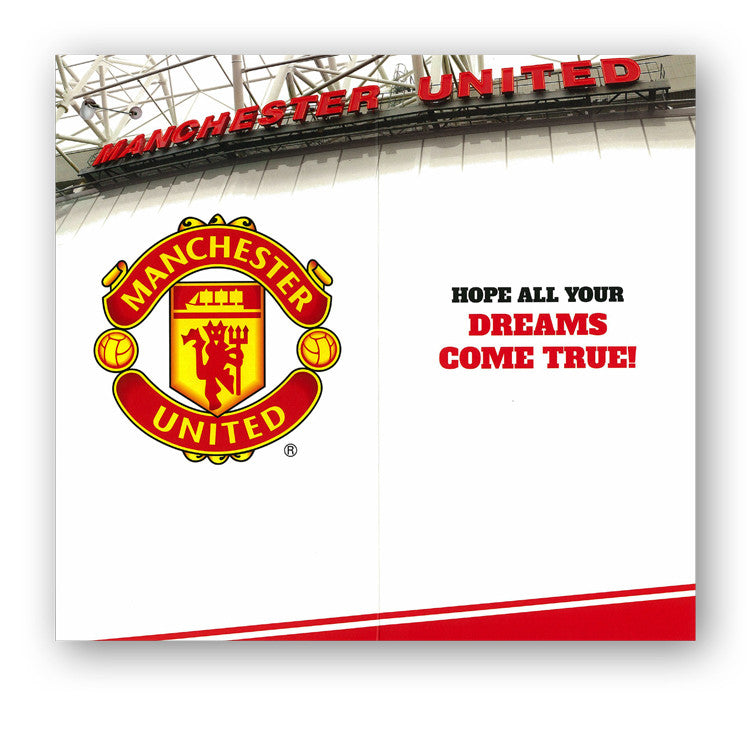 Manchester United Birthday Card with Badge Grandson Dormouse Cards – Man Utd Birthday Card