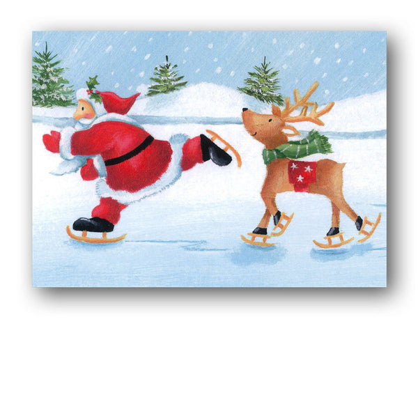 Santa Skating with Reindeer Christmas Cards sold by Dormouse Cards
