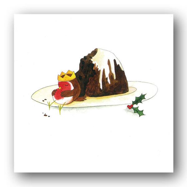 Robin eating Christmas Pudding Christmas Cards sold by Dormouse Cards