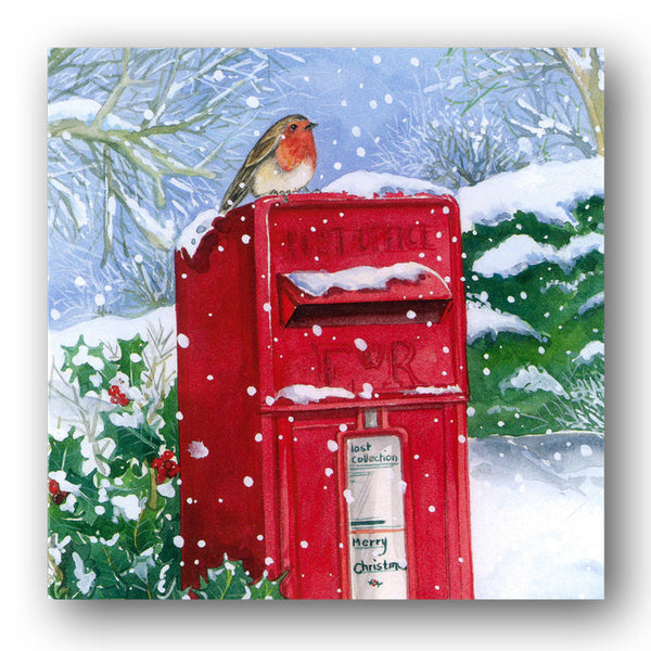 Robin on Postbox Christmas Cards sold by Dormouse Cards