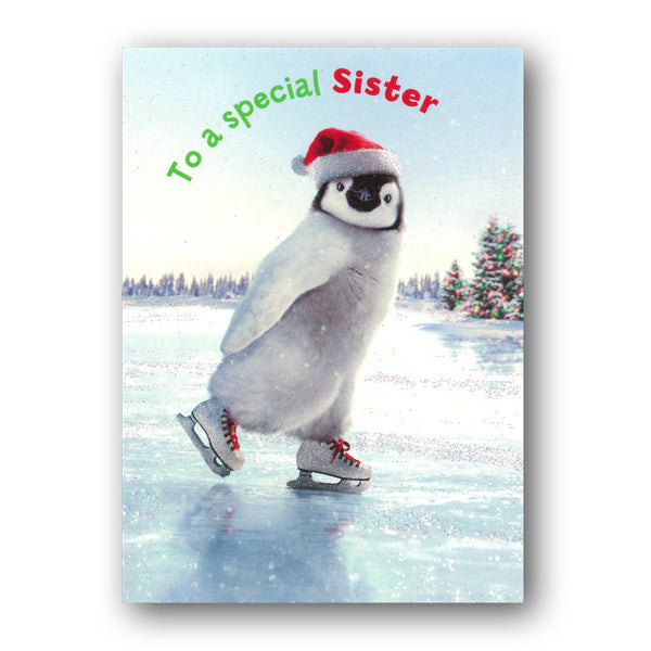 Funny Avanti Penguin Skating Christmas Card - Sister from Dormouse Cards
