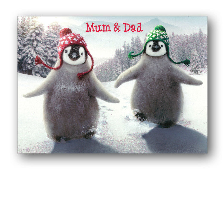 Cute Avanti Penguin Christmas Card - Mum & Dad - Dormouse Cards