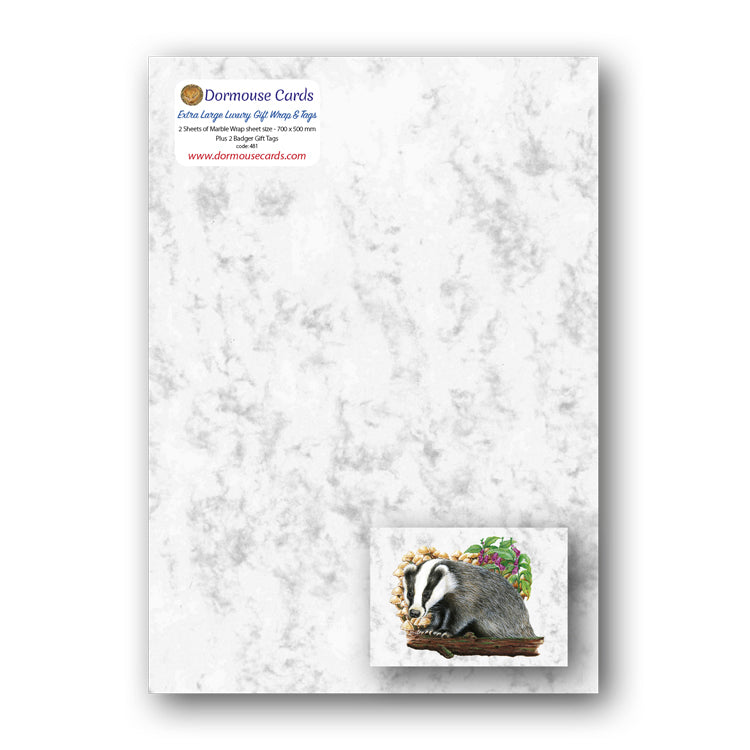Luxury Marble Gift Wrap and Marble Badger Gift Tags from Dormouse Cards