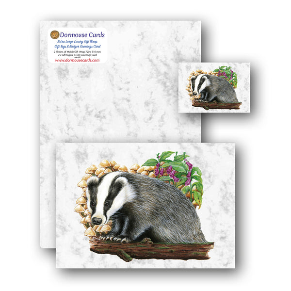 Luxury Marble Gift Wrap Badger Greetings Card and Gift Tags from Dormouse Cards