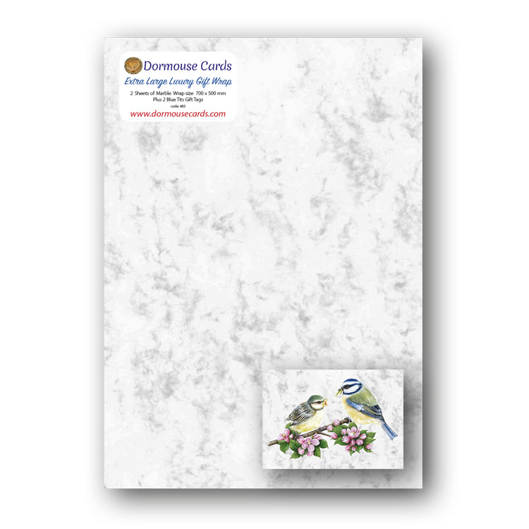 Luxury Marble Gift Wrap Blue Tits Gift Tags from Dormouse Cards