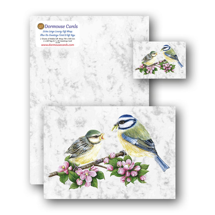 Luxury Marble Gift Wrap Blue Tits Greetings Card and Blue Tits Gift Tags