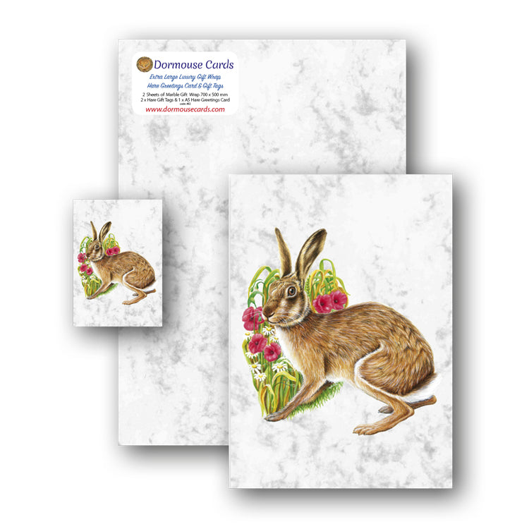 Marble Gift Wrap and Hare Gift Tags and Greetings Card from Dormouse Cards