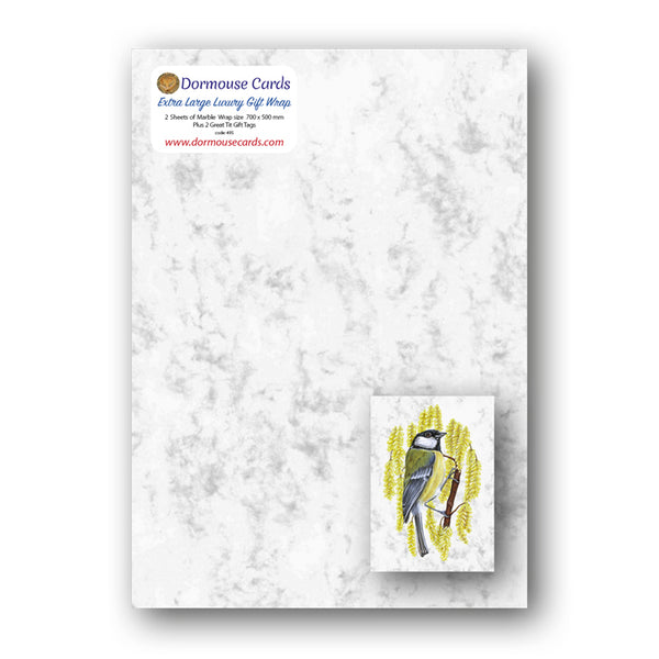 Marble Gift Wrap and Great Tit Gift Tags from Dormouse Cards