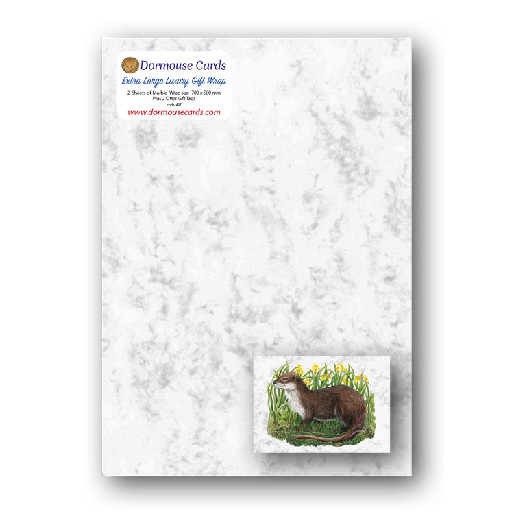 Marble Gift Wrap and Otter Gift Tags from Dormouse Cards