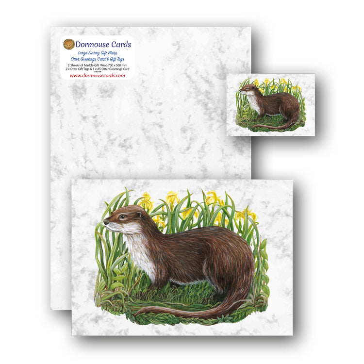 Marble Gift Wrap and Otter Gift Tags and Greetings Card from Dormouse Cards