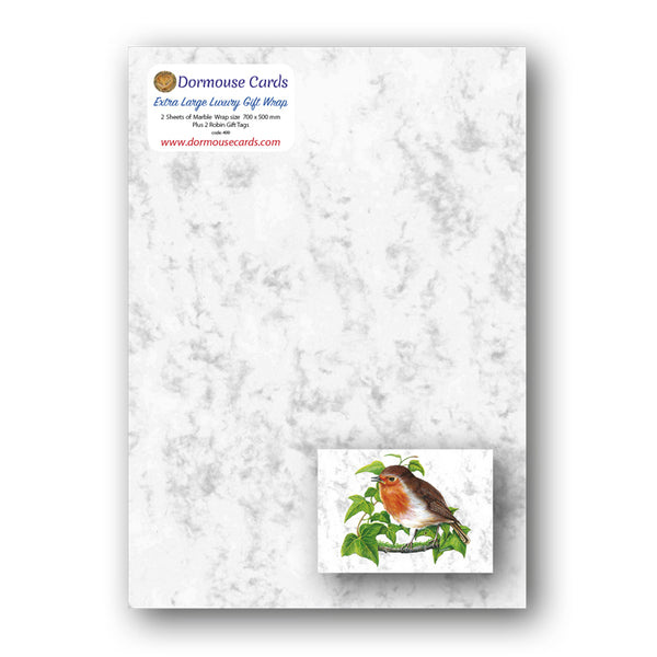 Marble Gift Wrap and Robin Gift Tags from Dormouse Cards
