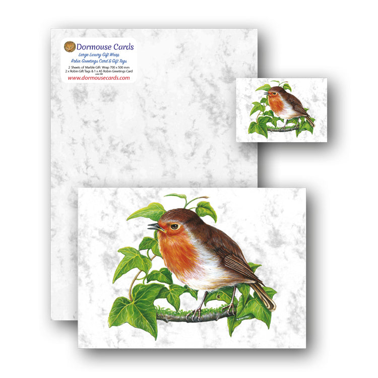 Marble Gift Wrap and Robin Greetings Card and Gift Tags from Dormouse Cards
