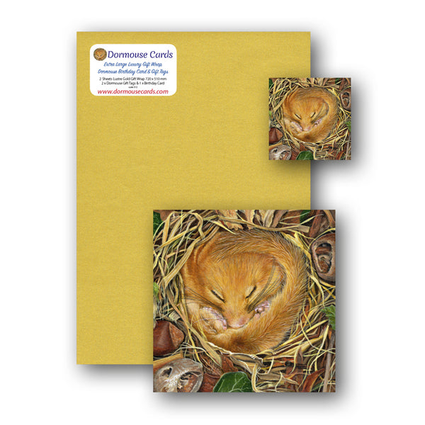 Luxury Lustre Gold Gift Wrap Dormouse Birthday Card and Gift Tags from Dormouse Cards