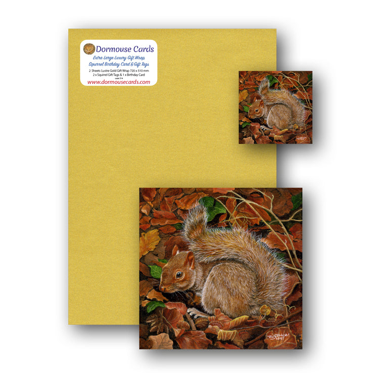 Luxury Gold Gift Wrap Squirrel Birthday Card Gift Tags from Dormouse Cards