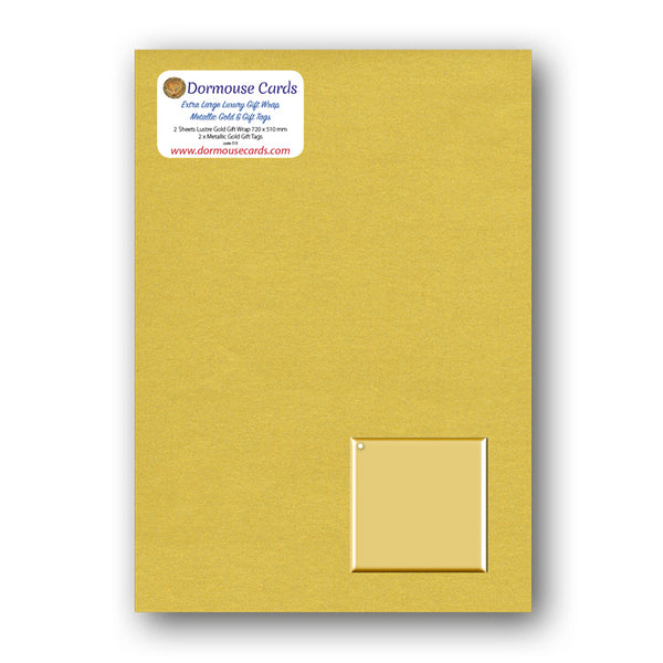Luxury Lustre Gold Gift Wrap and Metallic Gold Gift Tags from Dormouse Cards