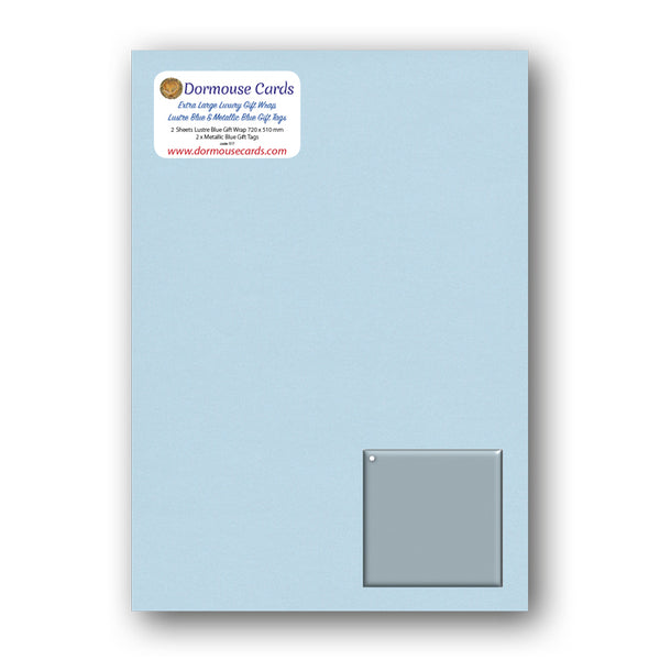 Luxury Extra Large Shimmer Blue Gift Wrap and Metallic Blue Gift Tags from Dormouse Cards