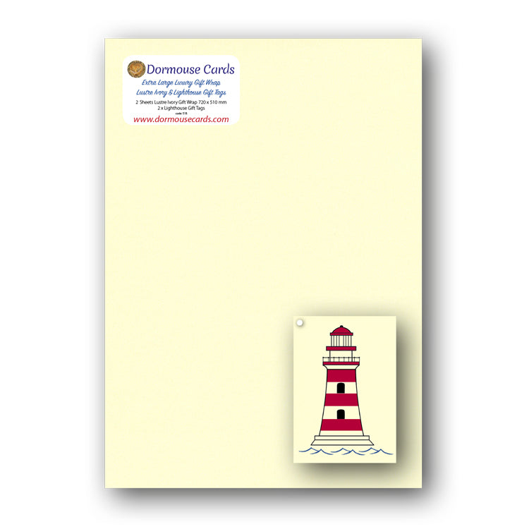 Luxury Ivory Shimmer Gift Wrap and Lighthouse Gift Tags from Dormouse Cards
