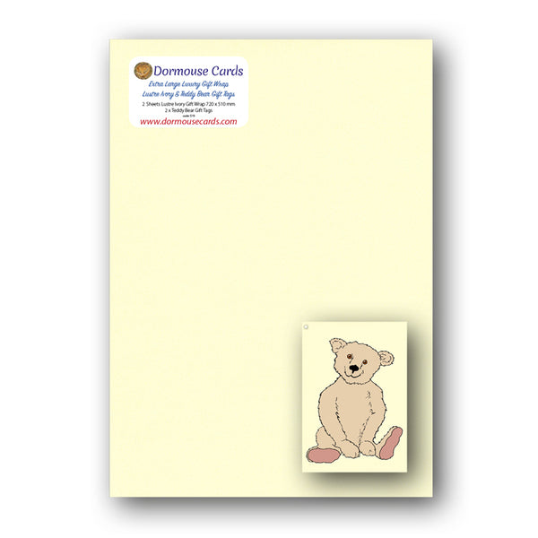 Lustre Ivory Gift Wrap and Teddy Bear Gift Tags from Dormouse Cards