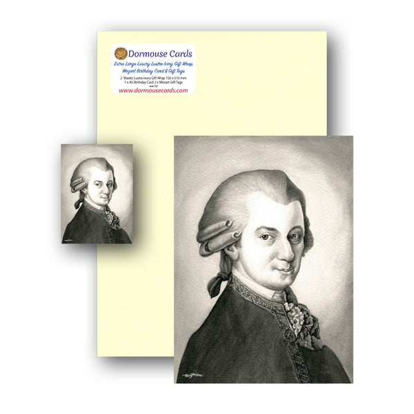 Lustre Ivory Gift Wrap and Mozart Birthday Card and Gift Tags from Dormouse Cards