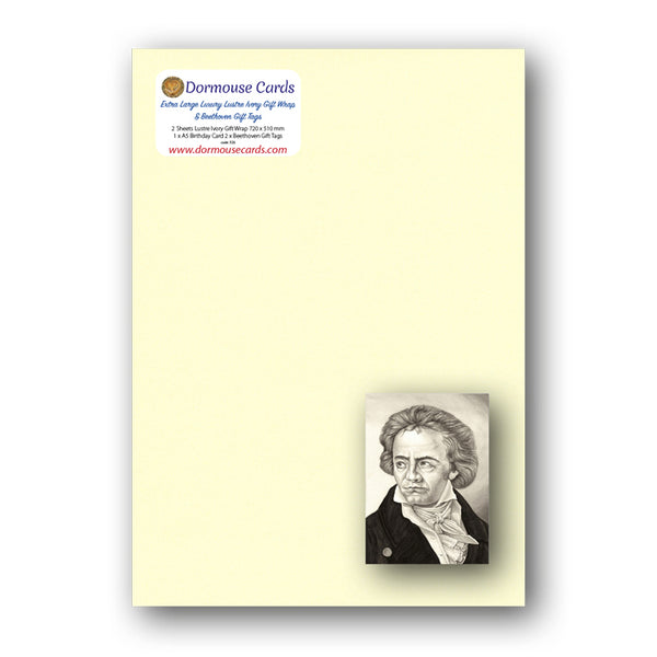 Lustre Ivory Gift Wrap and Beethoven Gift Tags from Dormouse Cards