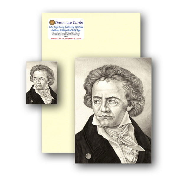 Lustre Ivory Gift Wrap Beethoven Gift Tags and Birthday Card from Dormouse Cards