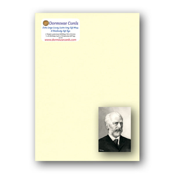 Lustre Ivory Gift Wrap and Tchaikovsky Gift Tags from Dormouse Cards