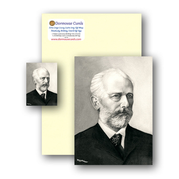 Lustre Ivory Gift Wrap and Tchaikovsky Birthday Card and Gift Tags from Dormouse Cards
