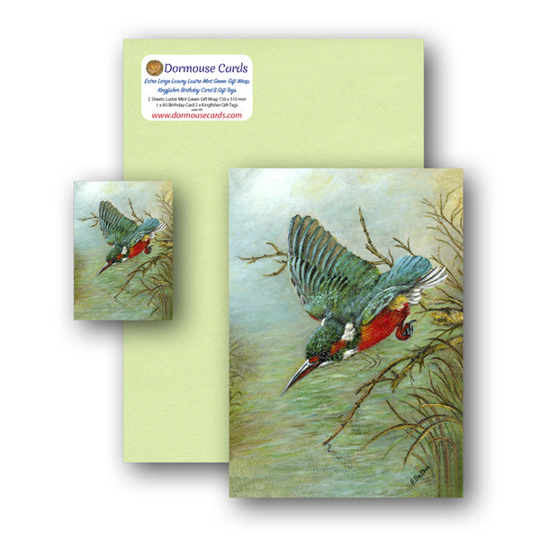 Luxury Lustre Mint Green Gift Wrap and Kingfisher Gift Tags and Birthday Card from Dormouse Cards