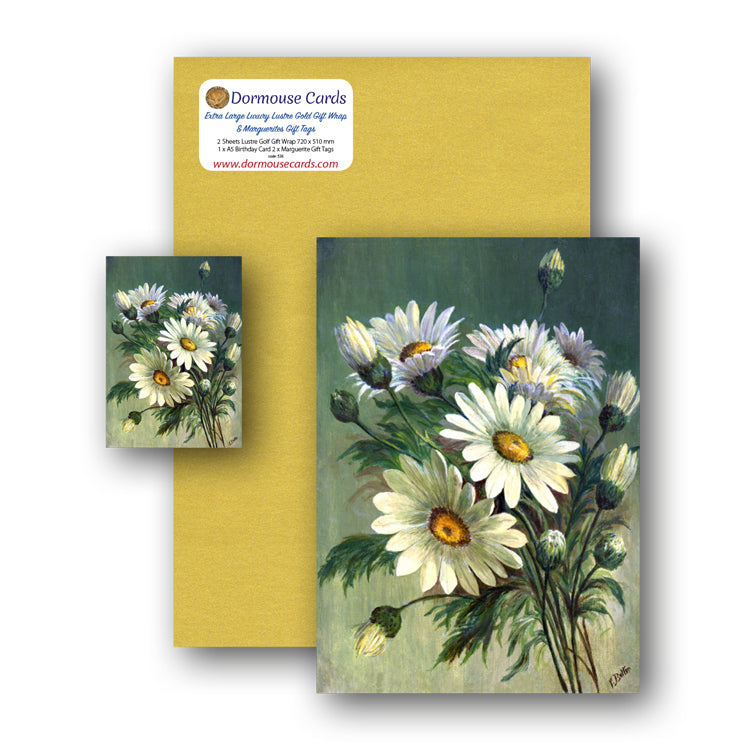 Lustre Gold Gift Wrap and Marguerite Birthday Card and Gift Tags from Dormouse Cards