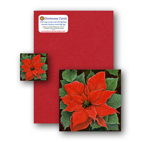 Poinsettia Christmas Card and Gift Tags from Dormouse Cards