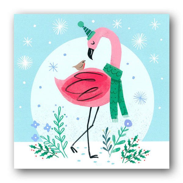 Funny Winter Flamingo Christmas Cards from Dormouse Cards