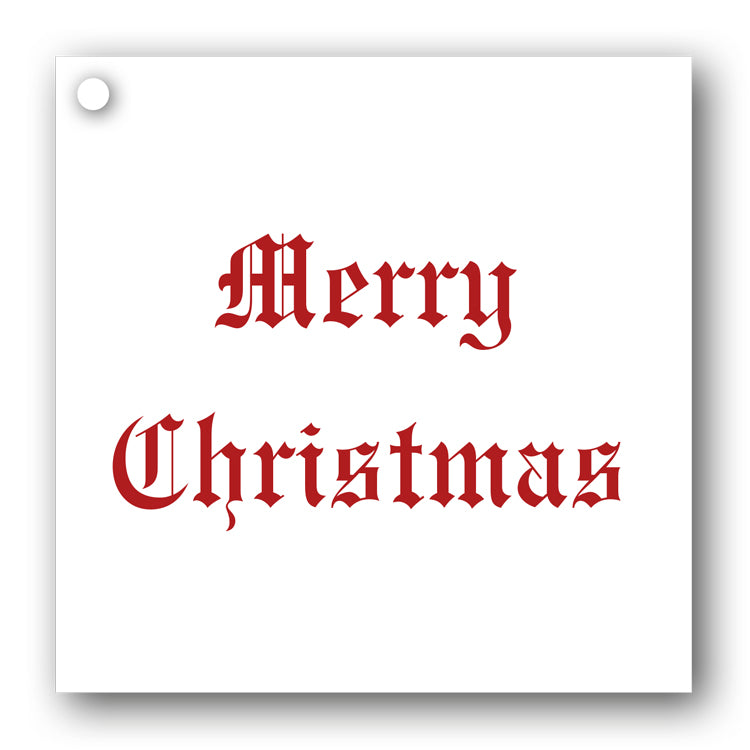 Red on White Merry Christmas Gift Tags from Dormouse Cards