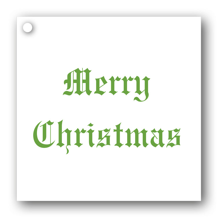 Green on White Merry Christmas Gift Tags from Dormouse Cards
