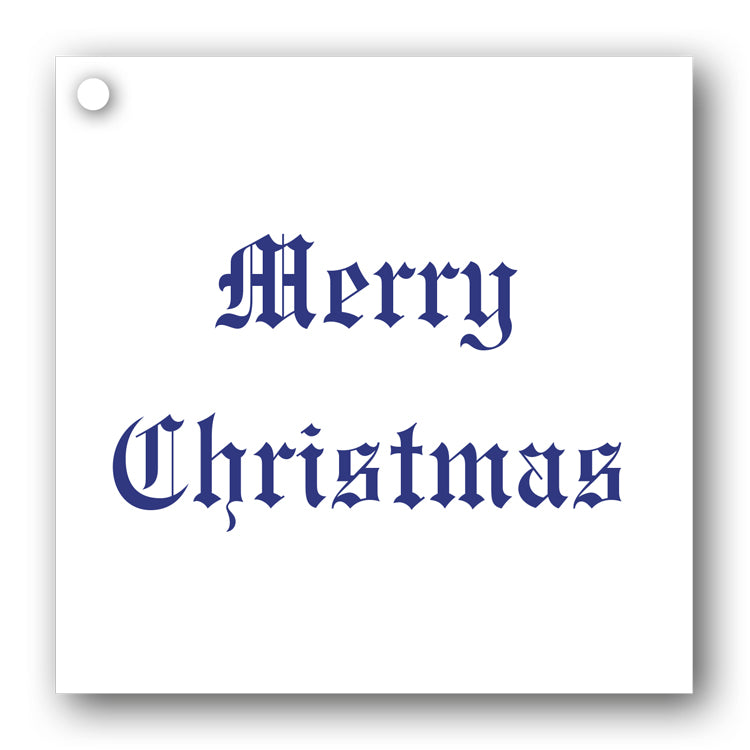 Blue on White Merry Christmas Gift Tags from Dormouse Cards