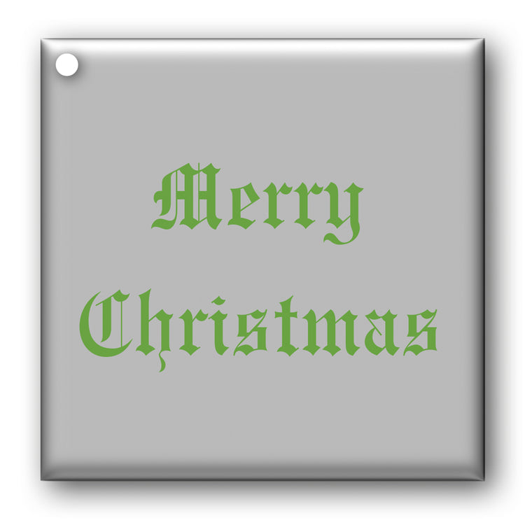 Green on Metallic Silver Merry Christmas Gift Tags from Dormouse Cards