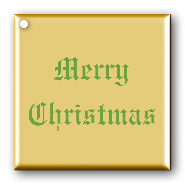 Pack of 10 Merry Christmas Gift Tags Green on Metallic Gold
