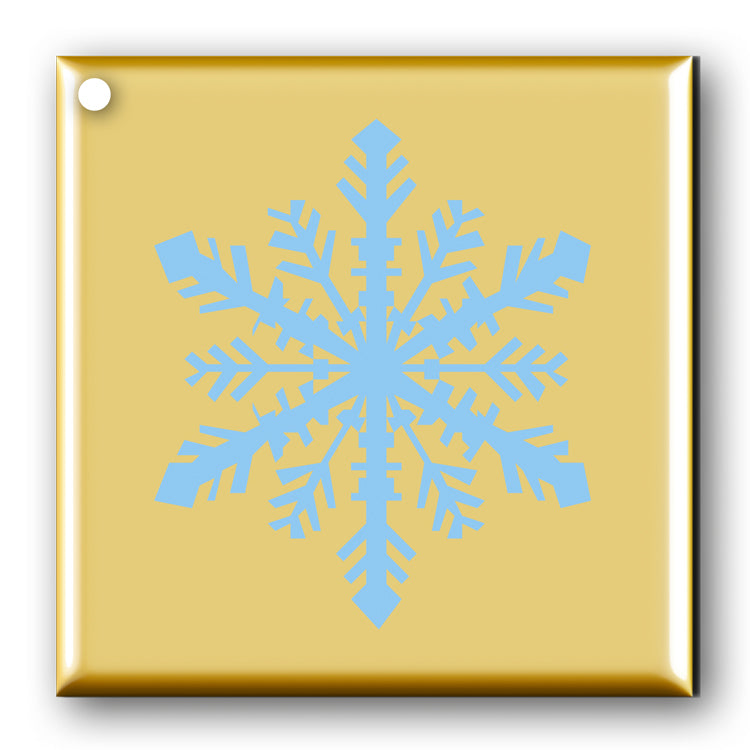 Pack of 10 Snowflake Gift Tags Turquoise on Metallic Gold