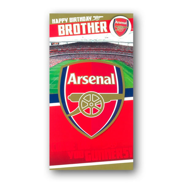 Arsenal Birthday Card with Badge - Brother from Dormouse Cards