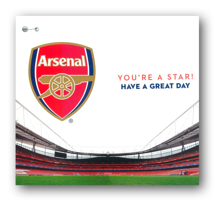 Arsenal Birthday Card with Badge - Birthday Boy from Dormouse Cards