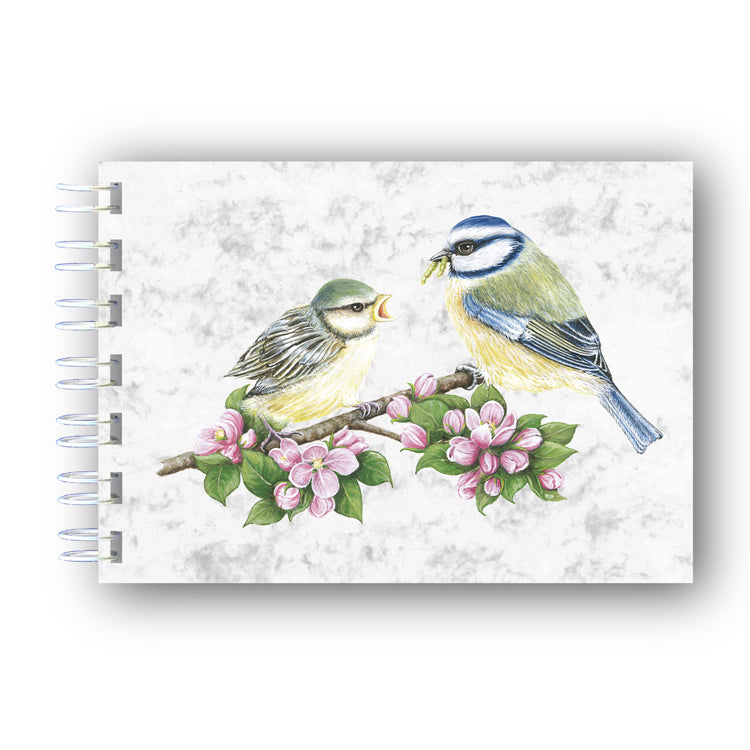 A6 Blue Tits Wire Bound Marble Notebook from Dormouse Cards