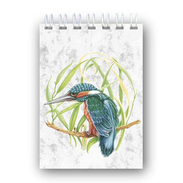A6 Kingfisher Wire Bound Marble Notebook from Dormouse Cards