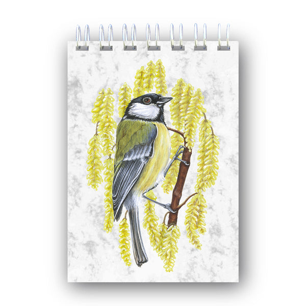 A6 Great Tit Wire Bound Marble Notebook from Dormouse Cards