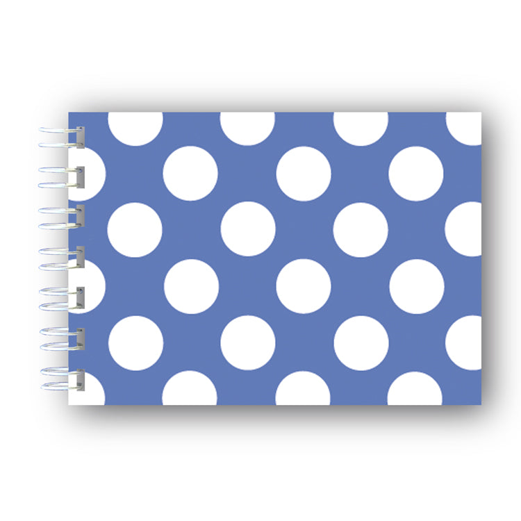 A6 Blue and White Polka Dots Wire Bound Notebook from Dormouse Cards