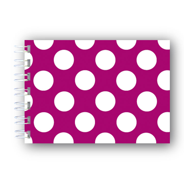 A6 Cerise and White Polka Dot Wire Bound Notebook from Dormouse Cards