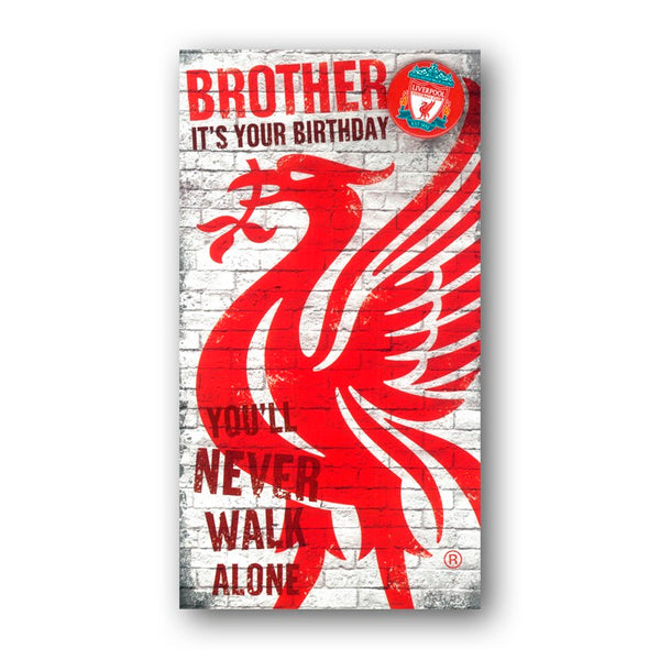 Liverpool FC Birthday Card with Badge Brother from Dormouse Cards